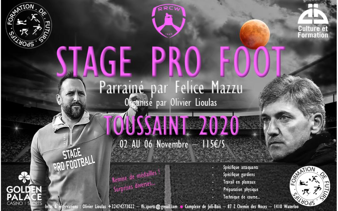 Notre stage de Toussaint 2020 parrainé par Felice Mazzu